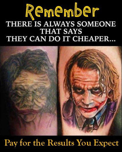 The Joker Tattoo Comparison Example